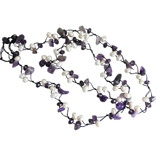 Amethyst, Freshwater Pearls and Purple Crystal Artisan Necklace,  36 Inches