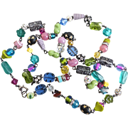 Long Artisan Multicolored Glass, Crystal and Rhinestone Balls Necklace,  42 Inches