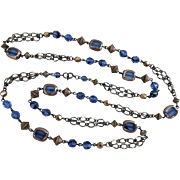 Long Sapphire Blue and Bronze Beaded Necklace, 40 Inches