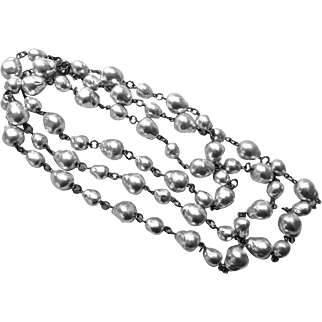 Long Artisan Necklace of Vintage Baroque Silver Grey Faux Pearls, 44 Inches