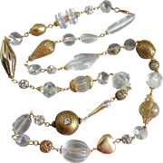 Long, Eclectic, Lucite, Crystal, and Goldtone Artisan Necklace,  40 Inches