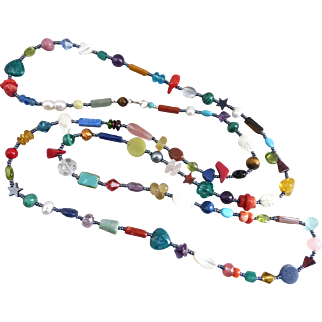 Long Artisan Gemstone Necklace, 43 Inches
