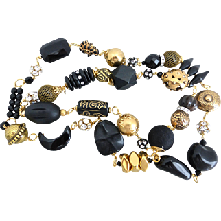 Chunky Eclectic Black and Goldtone Artisan Necklace,  43 Inches