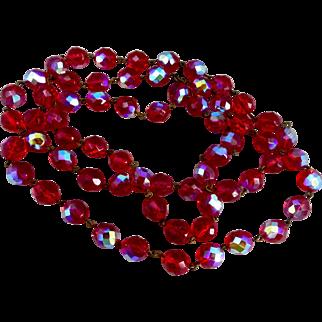 "Long Ruby Red Iridescent Czech Glass Bead Necklace, 45"""