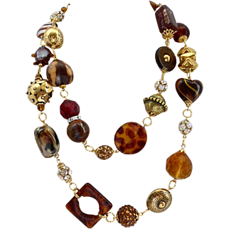"""Long Eclectic Artisan Necklace of Ambers and Browns, 45"""""""