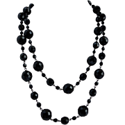 """Long Black Glass Faceted """"French Jet"""" Beaded Necklace,  42"""""""