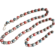 Funky Vintage Lucite Coral and Turquoise Belt/Necklace, 38 Inches