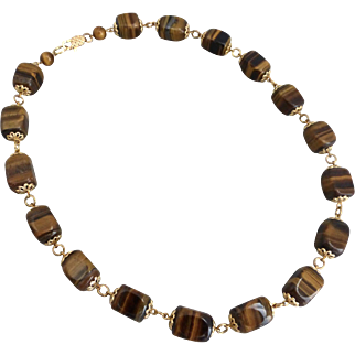 Tiger's Eye Squared Barrels Artisan Necklace,  20 Inches