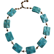 Turquoise Colored Magnesite Rectangular Bead Short Necklace