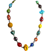 Artisan Multi Colored Lampwork and  Vintage Glass Necklace
