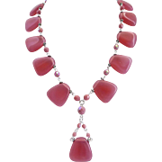 Opal Pink Vintage Glass Artisan Necklace