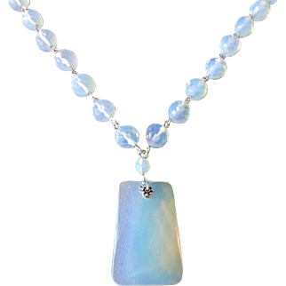 Classic Opalite Glass Pendant Necklace