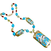 Enamel Pendant Necklace with Turquoise and Crystal