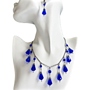 Cobalt Blue Vintage Teardrops Artisan Necklace