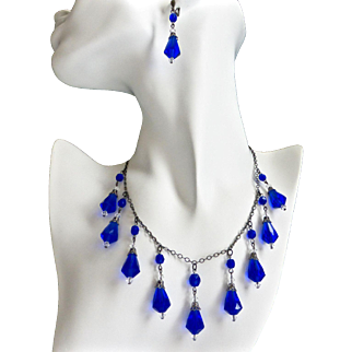 Cobalt Blue Vintage Teardrops Artisan Necklace
