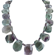 Pastel Rainbow Fluorite One of a Kind Necklace,  19 Inches