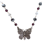 Sterling Silver Butterfly with Garnet, Crystal and Hematite