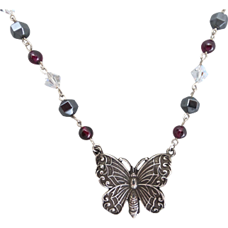Sterling Butterfly with Garnet, Crystal and Hematite