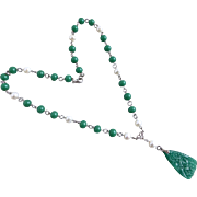 Peking Glass and Freshwater Pearls Pendant Necklace