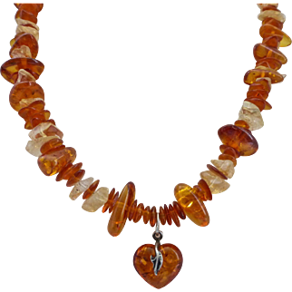 Sweet Necklace of Amber and Citrine Quartz Nuggets and Chips with Vintage Amber Heart Drop