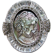 Sterling Silver Abalone Cameo Brooch/Pendant