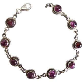 Sweet Pink Tourmaline and Sterling Bracelet