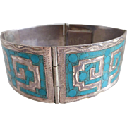 Vintage Mexican Sterling Silver and Turquoise Cuff Bracelet