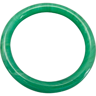 Apple Green Peking Glass Bangle Bracelet,  for Average Sized Wrist