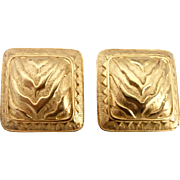 Signed Vintage Valentino Square Gold Tone Clip Earrings