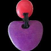 Vintage Purple and Pink Wood Drop Clip Earrings