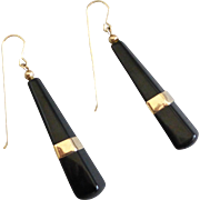 Black Onyx and 14Karat Gold Vintage Drop Earrings
