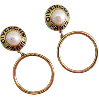 Givenchy Paris Vintage Runway Goldtone and Faux Pearl Hoop Earrings