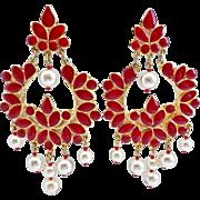 Red Enamel Lotus Flower Vintage Clip Earrings