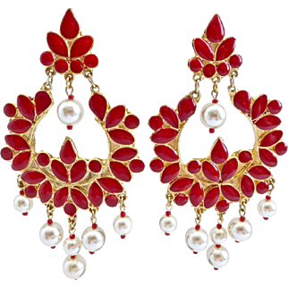 Red Enamel Lotus Flower Vintage Clip Earrings