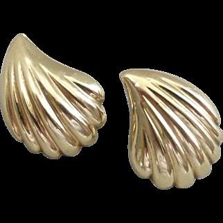 14K Gold Pretty Shell Pattern Earrings
