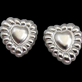 Signed Escada Silver Tone Heart Earrings, Clip Back