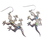 Charming Sterling Silver Gecko Design Artisan Earrings