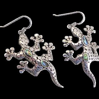 Charming Sterling Silver Gecko Design Artisan Earrings