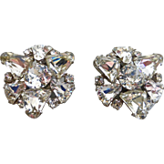 Vintage Schreiner Amazingly Beautiful Rhinestone Clip Back Earrings, Signed