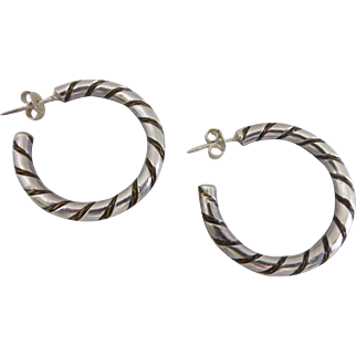 Sterling Silver Vintage Twist Hoop Earrings, One Inch Diameter