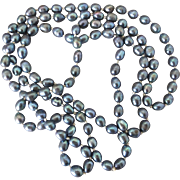 Grey/Blue Peacock Color Freshwater Pearl Necklace, 46 Inches