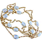 Long Vintage Opalite Glass and Goldtone Chain Necklace, 56 Inches