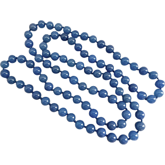 Long Blue Chalcedony Necklace, 33 Inches