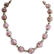 """Vintage """"Sommerso""""  Pink and White Venetian 14mm Glass Beads Necklace"""