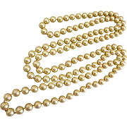 Long Necklace of 10mm Golden Faux Glass Pearls, 58 Inches