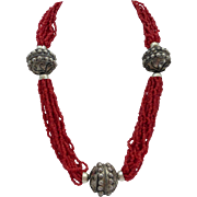 Oxblood Coral Color Glass Beads Chunky Necklace, 23 Inches
