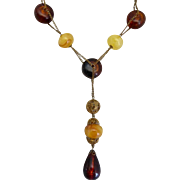 Funky Faux Amber Vintage Artisan Necklace,  23 Inches
