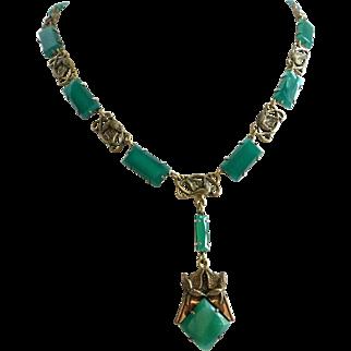 Art Nouveau/Art Deco Vintage Necklace of Green Glass,  16 Inches
