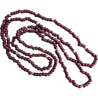 Vintage Garnet and 14K Gold Minimalist Necklace, 30 Inches