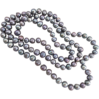 Grey/ Peacock Color Freshwater Pearl Necklace, 36 Inches